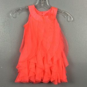 Healthtex  Pink Coral Poly Ruffled Party Dress 3T